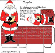 Christmas Time - Santa Claus Printable Candy Boxes - by Artists Helping Children - == - Two nice Christmas Candy Boxes to print and assemble in this educative website called Artists Helping Children. Miniature Christmas, Christmas Paper, Christmas Crafts, Christmas Boxes, Christmas Candy, Christmas Time, Candy Box Template, Box Templates, Origami Templates