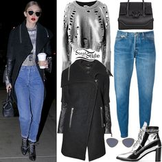 Gigi Hadid was spotted out and about in New York City wearing a Rudsak Cece Jacket ($645.00), a Zoë Jordan Euler Foil Distressed Wool & Cashmere Sweater ($255.00), Re/Done Relaxed Straight Jeans ($165.00), Le Specs Bazaar Sunglasses ($119.00), a Versace Palazzo Empire Bag ($1,728.00) and Stuart Weitzman The Gigi Boots ($565.00). You can find a similar coat for less at BlueFly ($79.99).