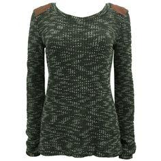 Hippe dames trui in de kleur kaki voorzien van stoere elleboog- en schouder stukken. Gemaakt van 70% acryl en 30% katoen.    http://www.lookinggoodtoday.com/dames-kleding/truien-vesten-dames
