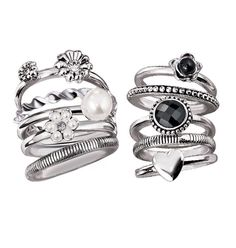 Chic Stackable Ring Set    Set of five antiqued silvertone rings with faux stones.    GOOD TO KNOW   All of Avon's jewelry is nickel-free for those with sensitive skin & allergies to nickel.
