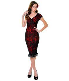 Red & Black Lace Annabella Wiggle Dress - Unique Vintage - Prom dresses, retro dresses, retro swimsuits.