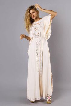 """""""I Believe In Unicorns - Maxi Dress"""" Women's embroidered maxi dress - Off White Fillyboo - Boho inspired maternity clothes online, maternity dresses, maternity tops and maternity jeans."""
