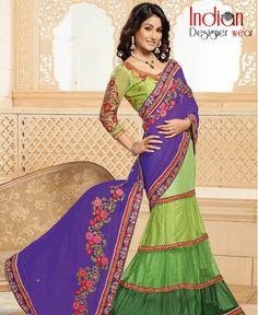 Exquisite Indigo & Green Lehenga Saree