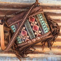"""TEMPORARILY OUT OF STOCK! """"The Luckenbach"""" Large Zipper Tote with Red Aztec, Native Conchos and Fringe by Running Roan Tack"""