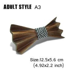 New Design Arrival Wooden Bow Ties For Man Women Slim Butterfly solid Color Wedding Party Wood Gravata 3D Personality Bow Tie