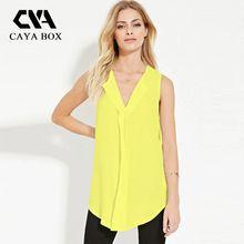 CAYA CAJA de Moda de Verano Sólido amarillo balck sin mangas V cuello de la gasa más el tamaño S-6XL mujeres Largas camiseta(China (Mainland))