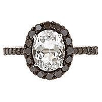Color Jewels White Topaz and Black Diamonds Ring in 14k White Gold - Sam's Club