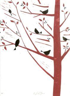 Birds Tree Print - Original Linocut Signed Giuliana Lazzerini Lino Block Print Red and Black Birds
