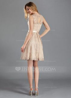 A-Line/Princess Scoop Neck Knee-Length Charmeuse Lace Bridesmaid Dress With Bow(s) (007019660) - JJsHouse
