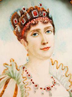 Miniature Watercolor Portrait of Josephine Beauharnais Bonaparte wearing all her rubies. Chateau De Malmaison, La Malmaison, Empress Josephine, Napoleon Josephine, Adele, First French Empire, French Royalty, Miniature Portraits, French History
