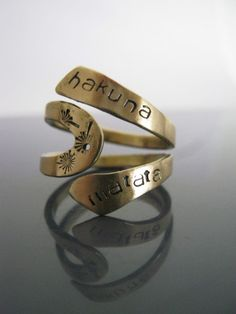 Hakuna Matata Ring, Hakuna Matata, Lion King, Disney, Free engraved, Twist Ring, Gifts for best friends, Hakuna Matata Jewelry, gold ring. $12.00, via etsy.