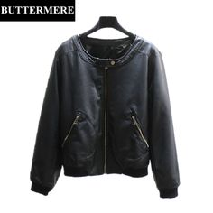 BUTTERMERE Leather Jacket For Women Plus Size 3XL Bomber Jacket With Zipper Pockets Black Casual Women's Spring Autumn Coats. Yesterday's price: US $89.87 (73.56 EUR). Today's price: US $39.54 (32.41 EUR). Discount: 56%.
