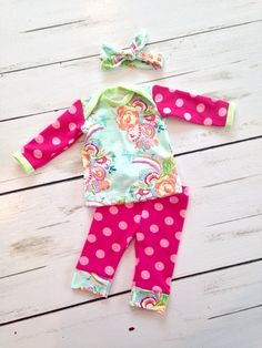 A personal favorite from my Etsy shop https://www.etsy.com/listing/222030379/newborn-girl-two-piece-outfit-going-home