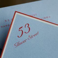 Powder Blue Empire Card with Double White & Red Borders and House Address in Red. Monogrammed Stationery, Custom Stationery, Stationery Paper, Stationery Design, Wedding Stationery, Wedding Invitations, Monogram Stationary, Invites, Oyster Bay New York
