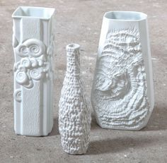 Group of Textural Ammonite White Porcelain Vases Designed by Kaiser | From a unique collection of antique and modern vases and vessels at https://www.1stdibs.com/furniture/decorative-objects/vases-vessels/