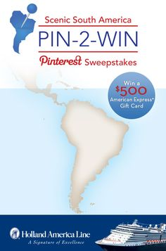 When you cruise to South America with Holland America Line, you see sparkling cities, spectacular landscapes and more. Pin a South America highlight and you may be the lucky winner of an American Express Gift Card worth $500. #Pin2Win #Contest #SouthAmerica #Sweepstakes Enter Now: https://www.facebook.com/HALCruises/app_363845683737502?ref=ts