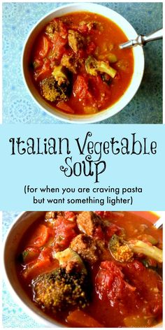 This Italian Vegetable Soup is the perfect dish for when you are craving a big bowl of pasta marinara but don't want all the calories. Delicious and healthy!
