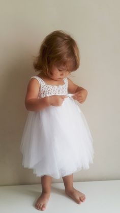 22106bf4251 Baby Tulle Dress with Empire Waist and Stretch Crochet Top.Tulle dress for  girls with lacy crochet bodice