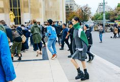 Colorful Saci Turtleneck with Gray Miniskirt   PFW SS 2016   Street Style   Photo: Phil Oh   vogue.com