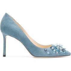 Jimmy Choo Romy 85 pumps (4.010 BRL) ❤ liked on Polyvore featuring shoes, pumps, blue, leather shoes, pointed toe high heel pumps, stiletto pumps, high heeled footwear and blue leather pumps