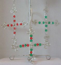 Handmade Wire Christmas Cross Ornaments by kalenescustomgifts, $5.00