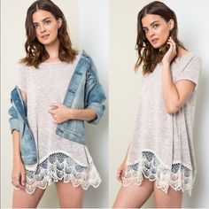 🆕SAVANNAH Lace Trim Soft Tee - LATTE Lace Trim Soft Tee. Available in LATTE, peach All 3 colors are more rich & vibrant in person, these pics were taken under bright light. Pls see pic 4 for actual color.  Fabric 65% RAYON 35% POLYESTER🚨PRICE FIRM🚨 Bellanblue Tops Blouses