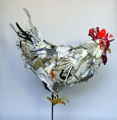 """""""White chicken"""" /'' White rooster'', 2011, garbage based sculpture...Trashy Rooster made of trash reminds me that male chicks are disposed of upon hatching & sexing...When you purchase """"pullets"""" and end up w/a rooster...think about how lucky he is...he could have ended up in the trash!"""