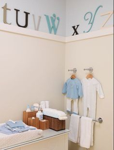 Super cute alphabet idea and a really simple and inexpensive way to add a ledge around the top of the room.