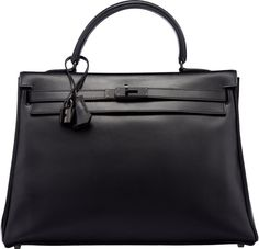 dfc32c09b21e Hermes Limited Edition 35cm So Black Calf Box Leather