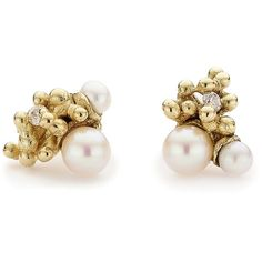 Ruth Tomlinson Asymmetrical Pearl and Diamond Stud Earrings (42,125 PHP) ❤ liked on Polyvore featuring jewelry, earrings, pearl jewellery, pearl stud earrings, 14k pearl earrings, 14k diamond earrings and pearl earrings