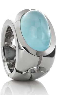 Aquamarin ring in 18K Oro Grigio (White gold) by Jochen Pohl