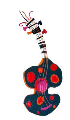 Guitare, Annabelle Delage - Média mixtes ©2014 par Atelier Terre de Sienne -