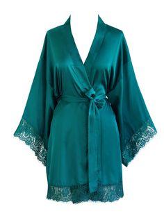Old Shanghai Women's Kimono Robe Short - Lace Trim (Peacock) Pretty Lingerie, Beautiful Lingerie, Cute Sleepwear, Lace Trim Shorts, Lace Kimono, Lingerie Collection, Nightwear, Night Gown, Lounge Wear
