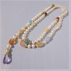 long pearl necklace semiprecious necklace statement pearl