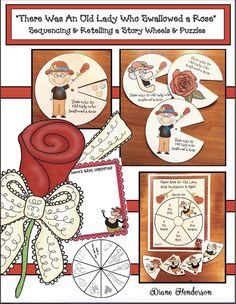 "Storytelling Wheels for ""There Was an Old Lady Who Swallowed a Rose"". Super-fun way to practice the ""sequence & retell a story"" standards. Also comes with a writing prompt & center activities. Valentines Day Activities, Valentine Crafts, Sequencing Activities, Reading Activities, Pete The Cat Author, Reading Buddies, Love You To Pieces, Flannel Friday, Author Studies"