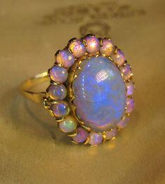Huge 7 Carats Black Crystal Opal 14k Rose Gold Ring Box Vintage Victorian | eBay