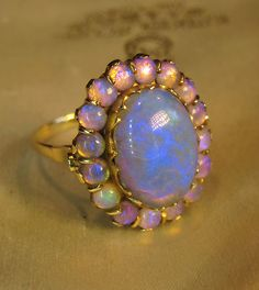 Huge 7 Carats Black Crystal Opal 14k Rose Gold Ring Box Vintage Victorian | eBay