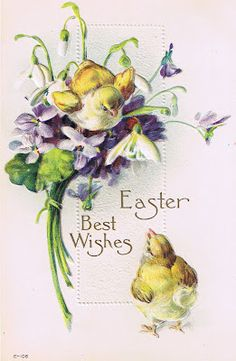 Chicks and violets ~ Easter Best Wishes vintage postcard Vintage Easter, Vintage Holiday, Vintage Birthday, Easter Art, Easter Crafts, Vintage Greeting Cards, Vintage Postcards, Etiquette Vintage, Easter Parade