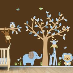 Baby Boy Room Jungle Wall Decals, Boy Room Wall Decals (Blue Brown). $69.99, via Etsy.