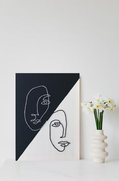 Abstract Face Art, Clay Art Projects, Modern Embroidery, Line Art, Wall Art Prints, Punch, Canvas Art, Wall Decor, Paintings
