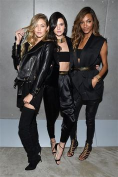 Gigi Hadid, Kendall Jenner and Jourdan Dunn at the BALMAIN X H&M Collection Launch at 23 Wall Street in New York City on Oct. 20, 2015.