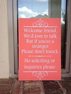 No Soliciting Real Wood Sign by FussyMussyDesigns on Etsy, $12.00