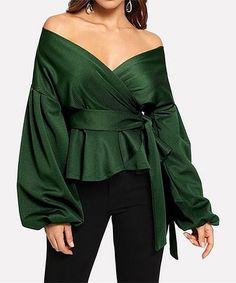 Another great find on #zulily! Green Bishop-Sleeve Off-Shoulder Wrap Top - Women #zulilyfinds Off Shoulder Bluse, Shoulder Tops, Womens Trendy Tops, Sexy Shirts, V Neck Blouse, Peplum Blouse, Black Blouse, Ruffle Blouse, Blouse Styles