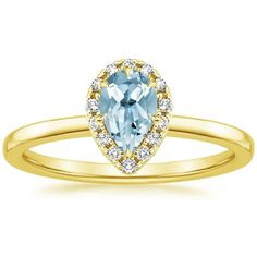 Aquamarine Vienna Engagement Ring (1/4 ct. tw.) - 18K Yellow Gold