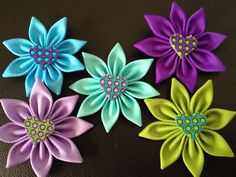 Kanzashi Flowers with a heart