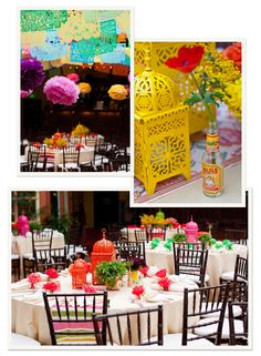 For the fiesta, love the colorful lanterns. The hot sauce bottle is cute. Corona bottles would make playful vases, too bad it's not an adult birthday party...