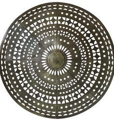 Large Art Deco Ceiling Light, France, 1930s  Wonderful round brass plafonnier with geometric cut-out patterns. The metal has acquired a nice polished patina. Dimensions 7.87 in.H 20 cmH  from: Xavier Nicod