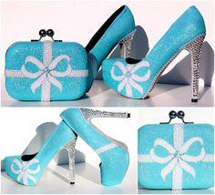 Aqua Blue Glitter-Heels mit Swarovski Crystals von WickedAddiction
