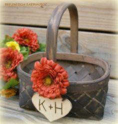 Flower Girl Basket Rustic Wedding Decor  YOU by MinSvenskaLandgard, $32.00 (or maybe for cards??)