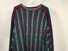 Neiman Marcus Mens Sweater Striped Vintage Sz L #NeimanMarcus #Crewneck